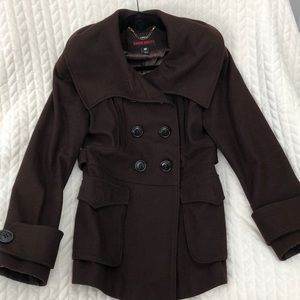 Miss Sixty Brown Wool Peacoat, Size Medium M